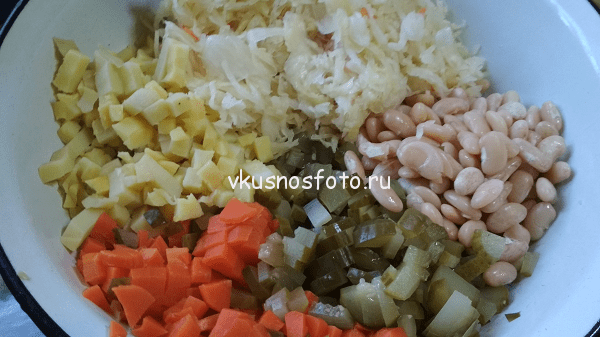 ингредиенты для винегрета с фасолью