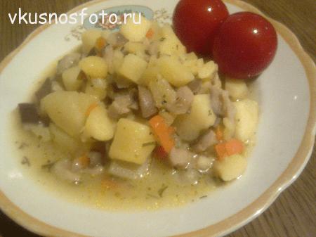 тушеная картошка с грибами
