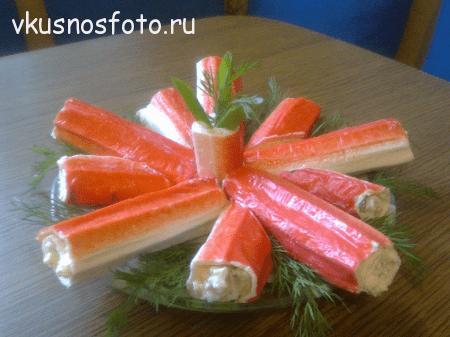 Рецепт крабовых палочек фаршированных сыром