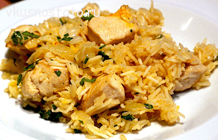 Рис с курицей и овощами в мультиварке