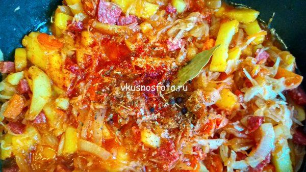 Картошка с квашеной капустой рецепт с фото